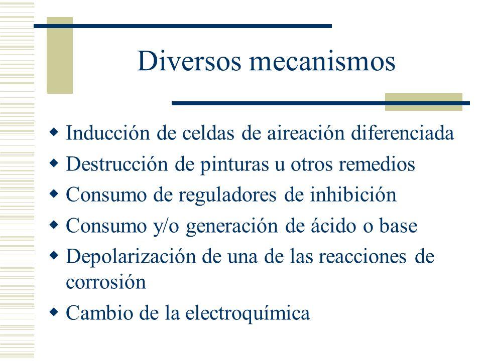 Diversos mecanismos Inducción de celdas de aireación diferenciada