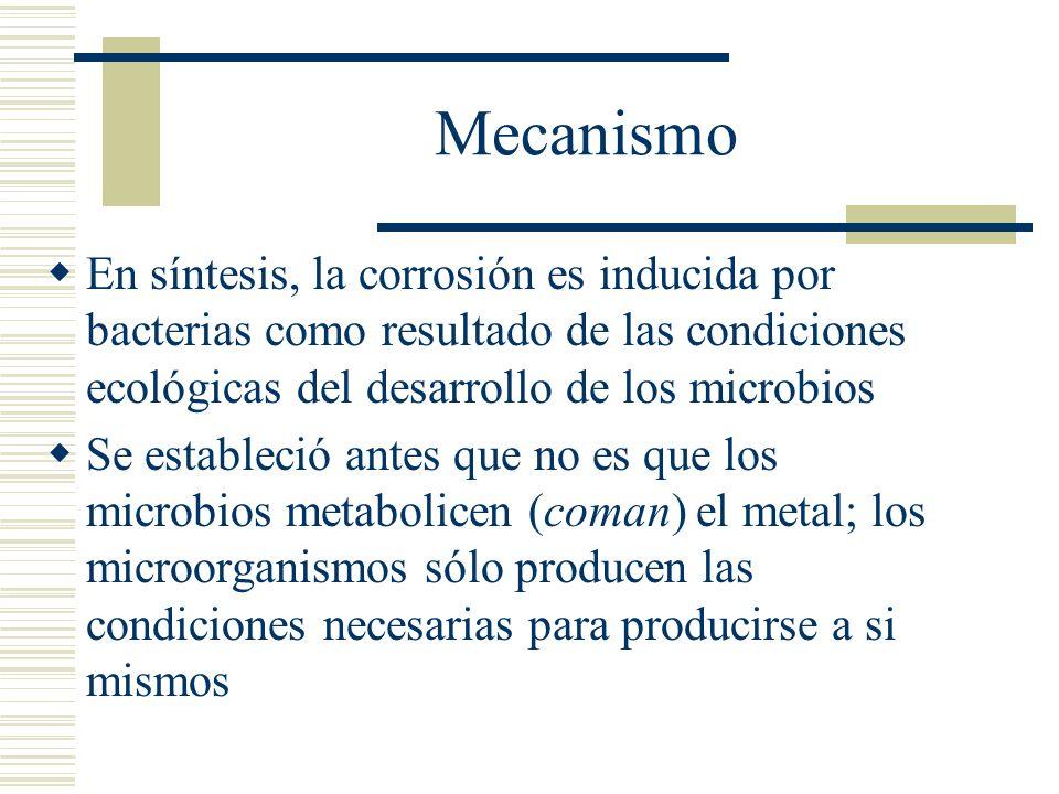 Mecanismo En síntesis, la corrosión es inducida por bacterias como resultado de las condiciones ecológicas del desarrollo de los microbios.
