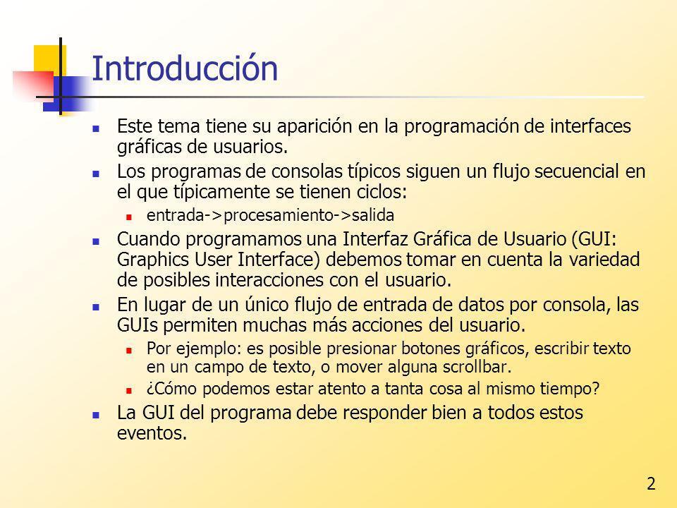 Introducción Este tema tiene su aparición en la programación de interfaces gráficas de usuarios.