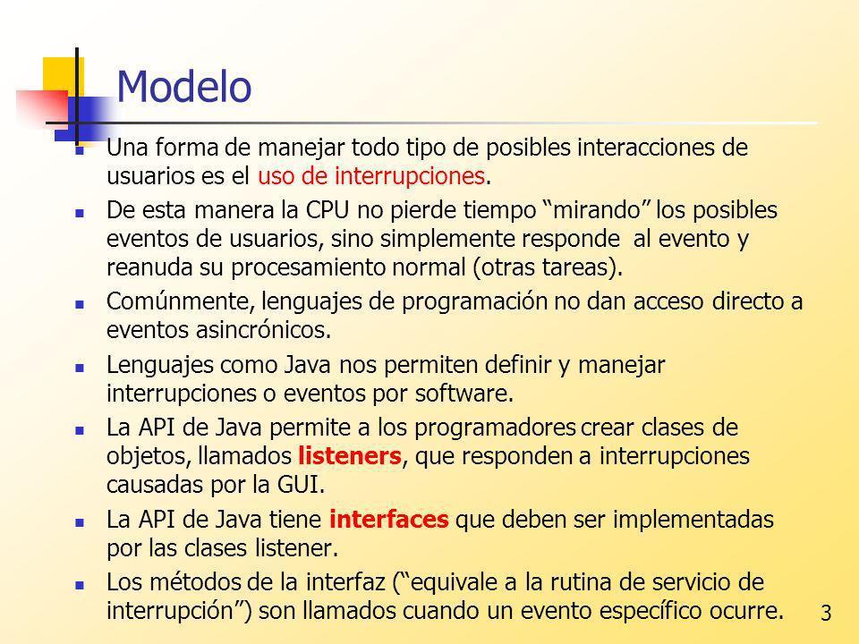 Modelo Una forma de manejar todo tipo de posibles interacciones de usuarios es el uso de interrupciones.
