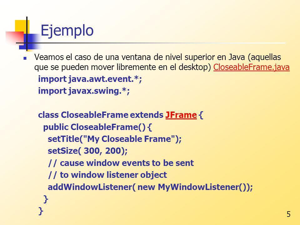 Ejemplo Veamos el caso de una ventana de nivel superior en Java (aquellas que se pueden mover libremente en el desktop) CloseableFrame.java.
