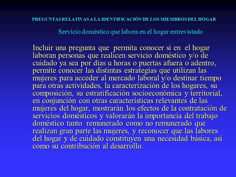 PREGUNTAS RELATIVAS A LA IDENTIFICACIÓN DE LOS MIEMBROS DEL HOGAR Servicio doméstico que labora en el hogar entrevistado