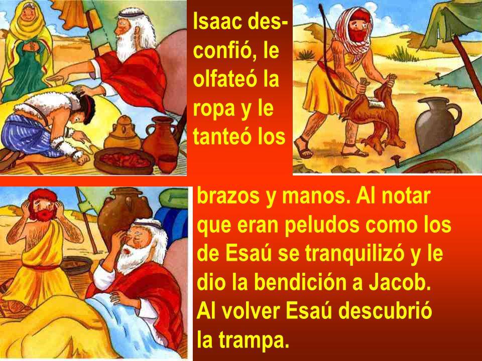 Isaac des- confió, le. olfateó la. ropa y le. tanteó los. brazos y manos. Al notar. que eran peludos como los.