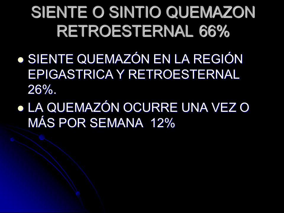 SIENTE O SINTIO QUEMAZON RETROESTERNAL 66%