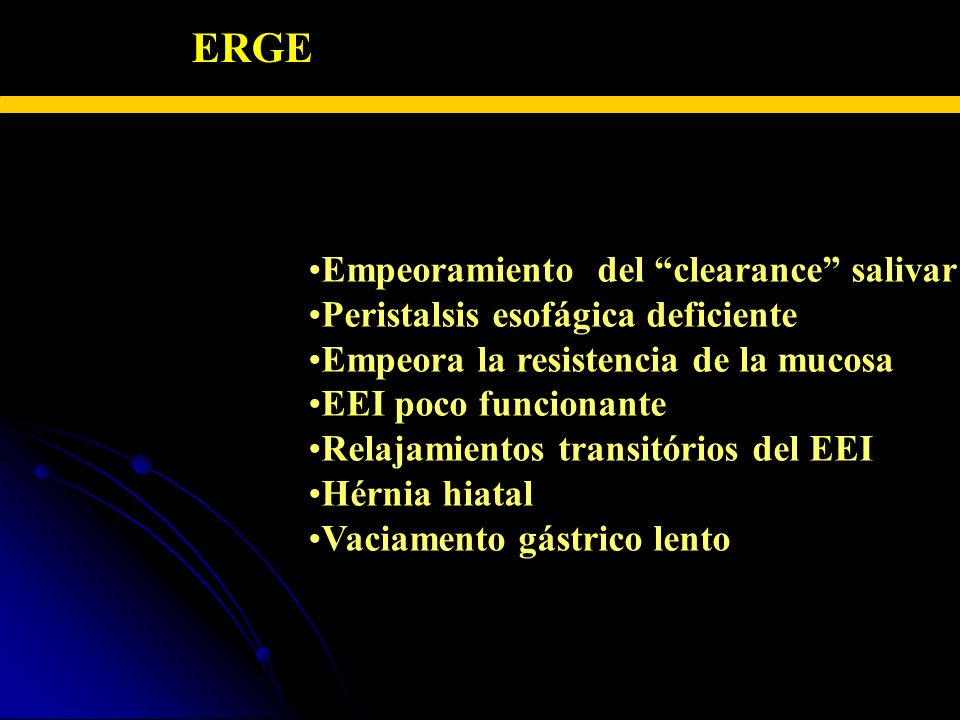 ERGE – FISIOPATOLOGIA Empeoramiento del clearance salivar