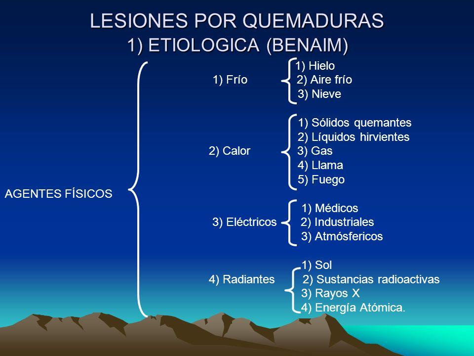 LESIONES POR QUEMADURAS 1) ETIOLOGICA (BENAIM)