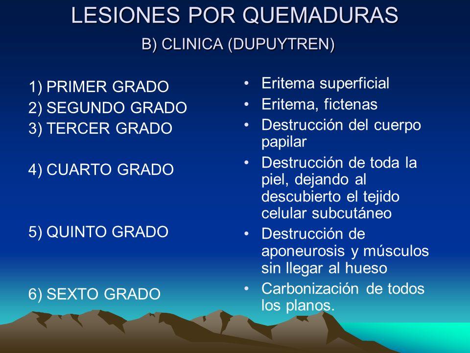 LESIONES POR QUEMADURAS B) CLINICA (DUPUYTREN)