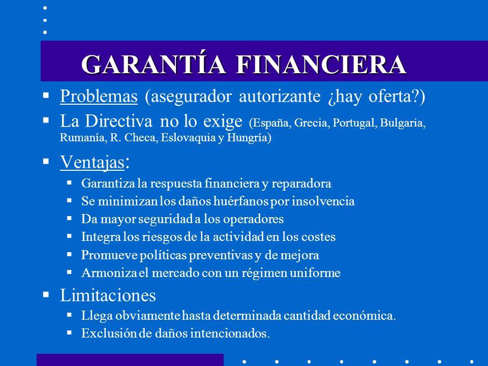 GARANTÍA FINANCIERA Problemas (asegurador autorizante ¿hay oferta )