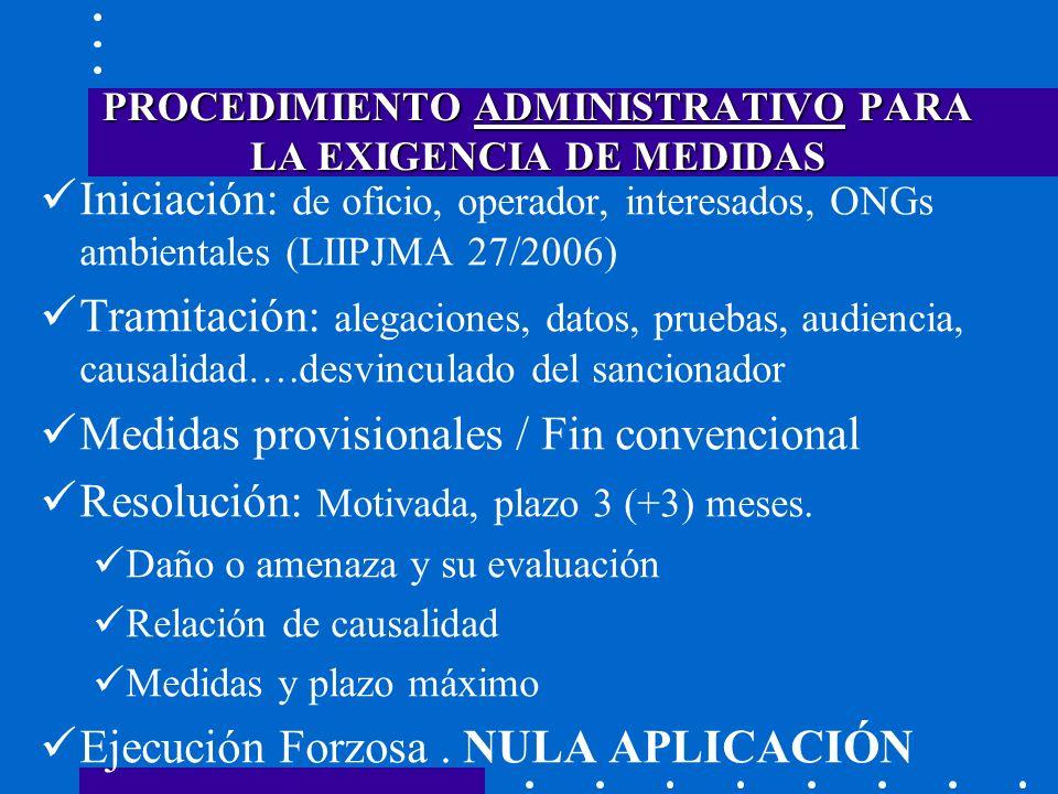 PROCEDIMIENTO ADMINISTRATIVO PARA LA EXIGENCIA DE MEDIDAS