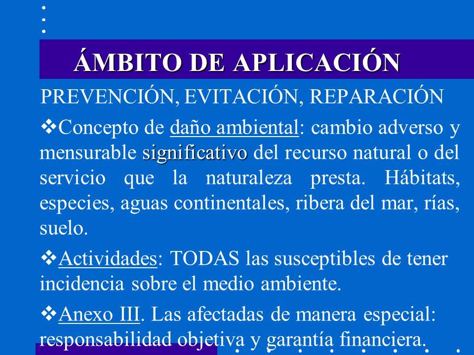 ÁMBITO DE APLICACIÓN PREVENCIÓN, EVITACIÓN, REPARACIÓN