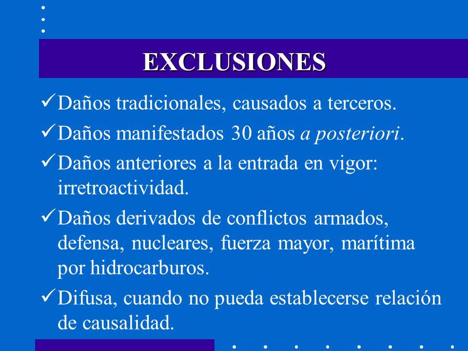 EXCLUSIONES Daños tradicionales, causados a terceros.
