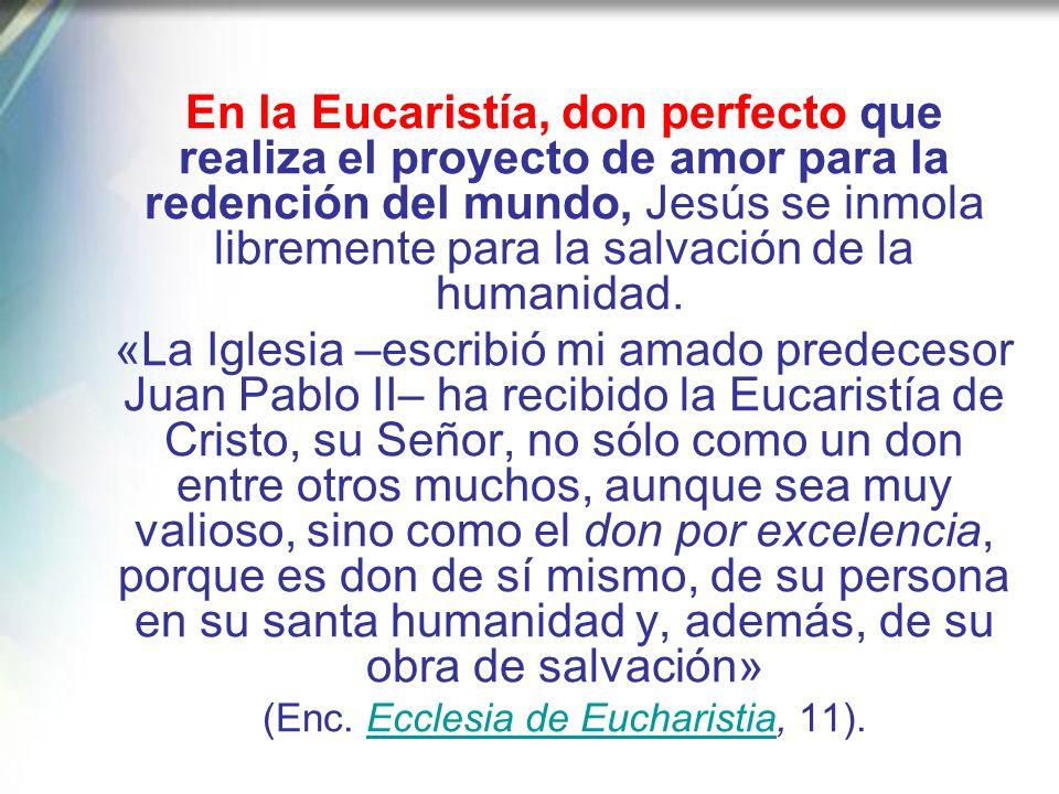 (Enc. Ecclesia de Eucharistia, 11).