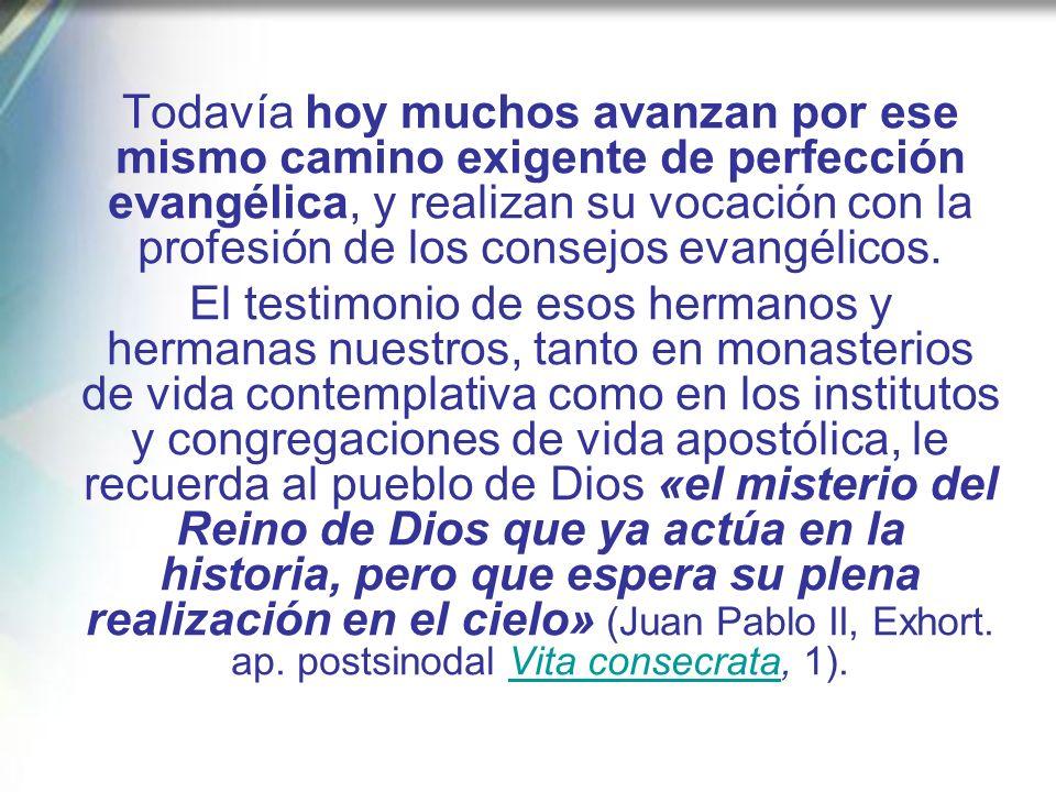 Todavía hoy muchos avanzan por ese mismo camino exigente de perfección evangélica, y realizan su vocación con la profesión de los consejos evangélicos.
