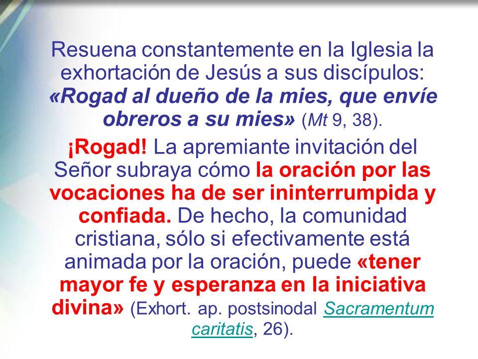 Resuena constantemente en la Iglesia la exhortación de Jesús a sus discípulos: «Rogad al dueño de la mies, que envíe obreros a su mies» (Mt 9, 38).