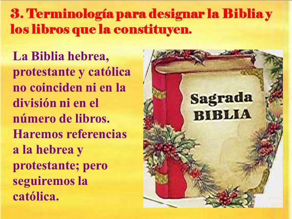 3. Terminología para designar la Biblia y los libros que la constituyen.