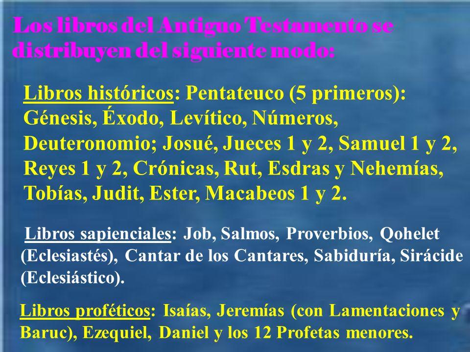 Los libros del Antiguo Testamento se distribuyen del siguiente modo: