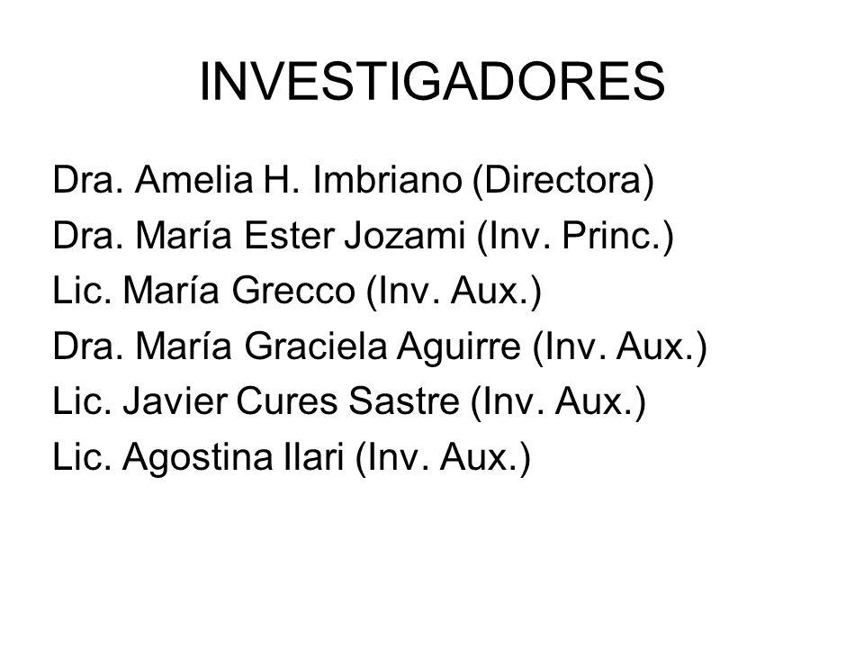 INVESTIGADORES Dra. Amelia H. Imbriano (Directora)