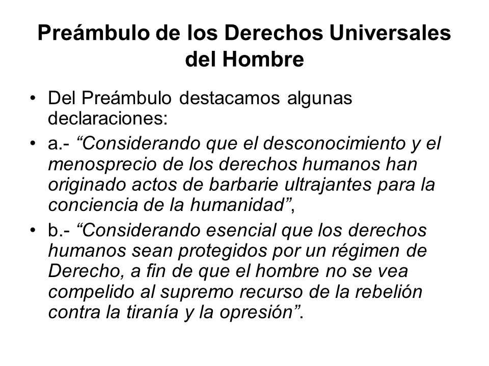 Preámbulo de los Derechos Universales del Hombre