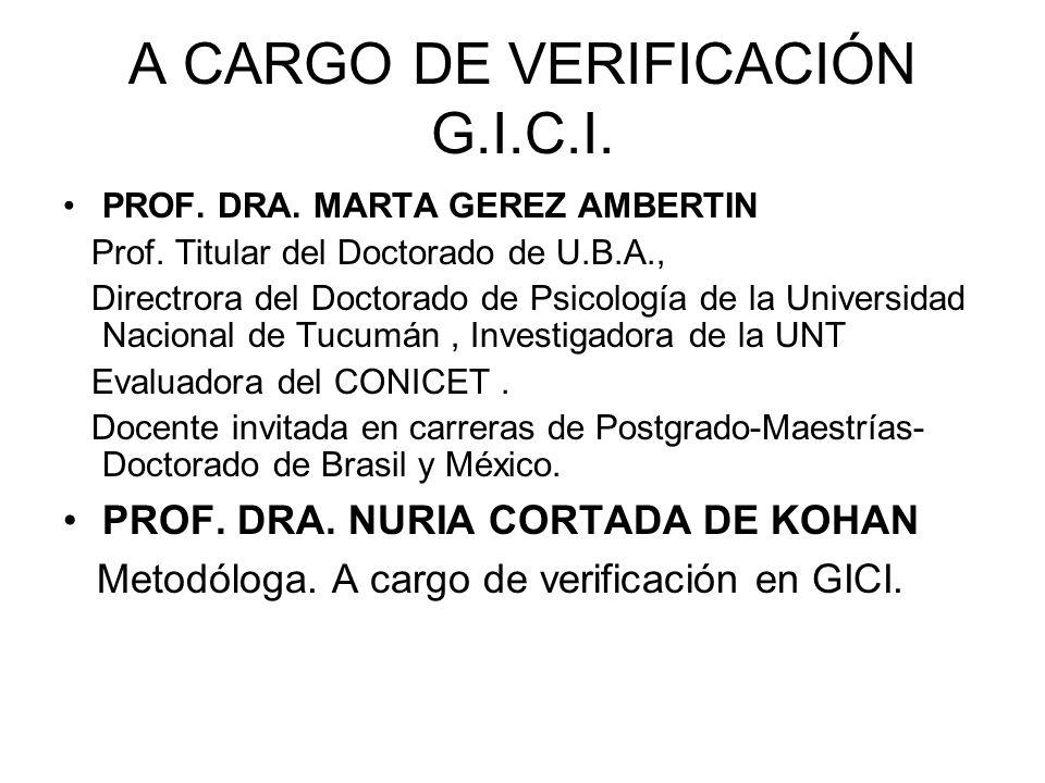 A CARGO DE VERIFICACIÓN G.I.C.I.