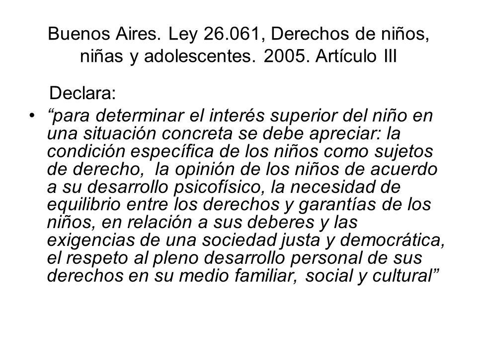 Buenos Aires. Ley 26. 061, Derechos de niños, niñas y adolescentes