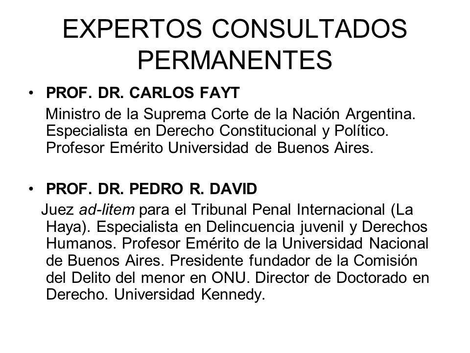 EXPERTOS CONSULTADOS PERMANENTES