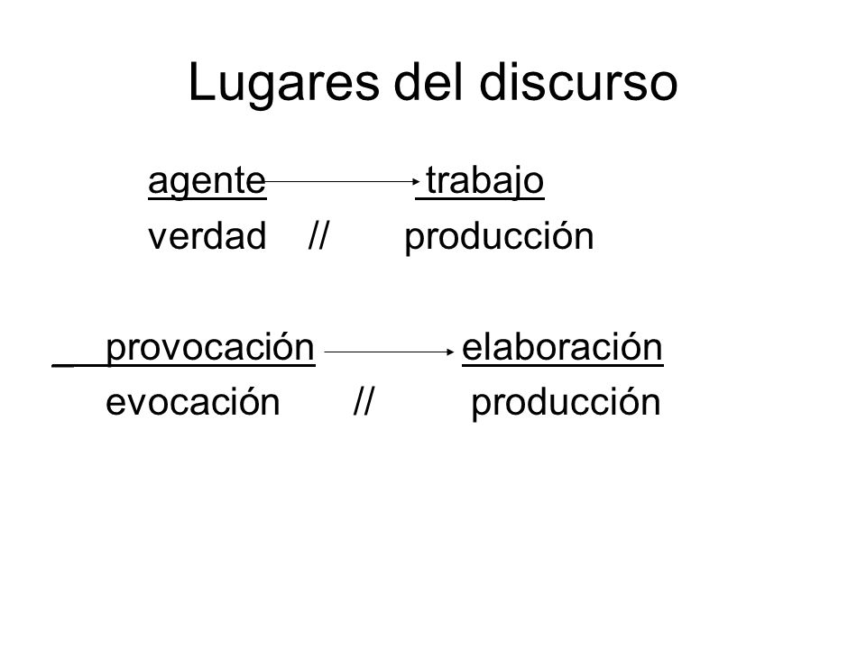 Lugares del discurso agente trabajo verdad // producción