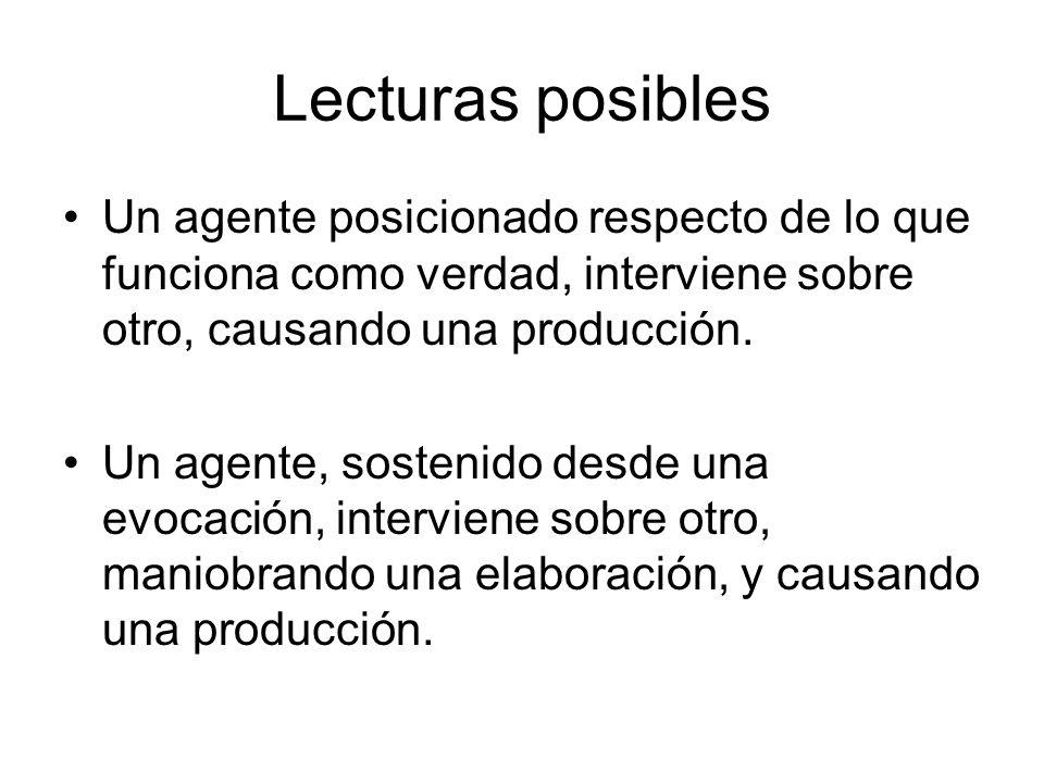 Lecturas posibles Un agente posicionado respecto de lo que funciona como verdad, interviene sobre otro, causando una producción.