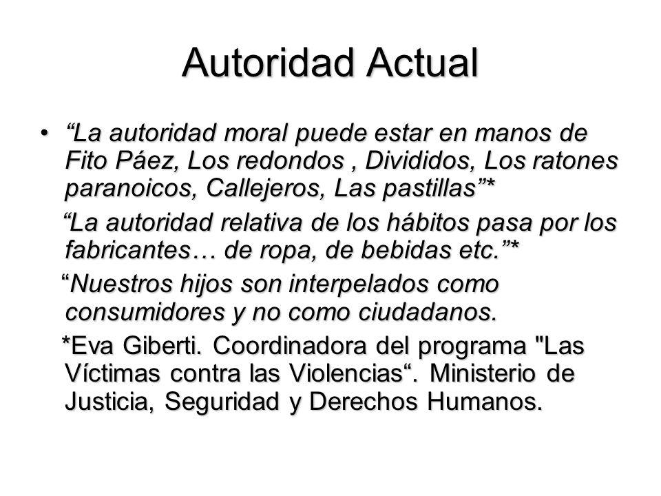 Autoridad Actual La autoridad moral puede estar en manos de Fito Páez, Los redondos , Divididos, Los ratones paranoicos, Callejeros, Las pastillas *