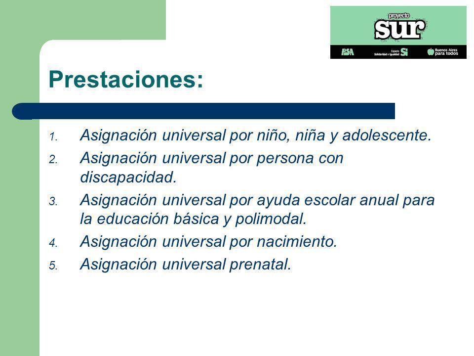 Prestaciones: Asignación universal por niño, niña y adolescente.