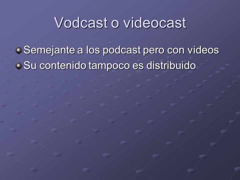 Vodcast o videocast Semejante a los podcast pero con videos