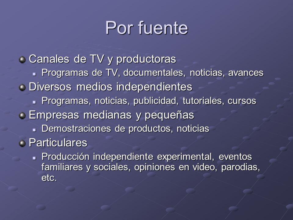 Por fuente Canales de TV y productoras Diversos medios independientes