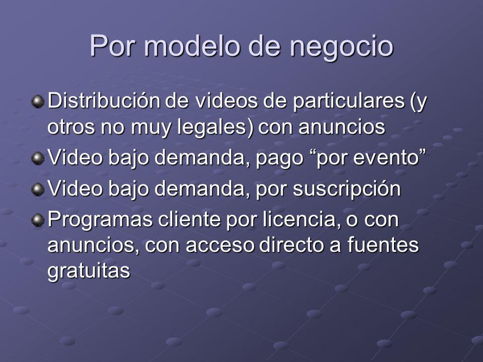 Por modelo de negocioDistribución de videos de particulares (y otros no muy legales) con anuncios. Video bajo demanda, pago por evento