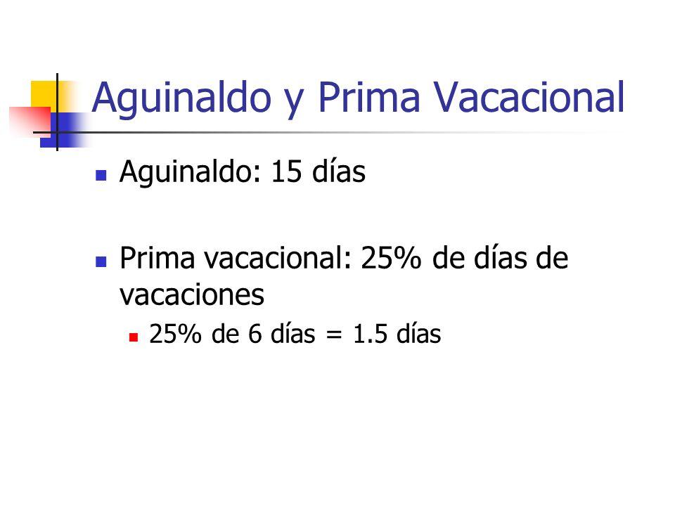 Aguinaldo y Prima Vacacional