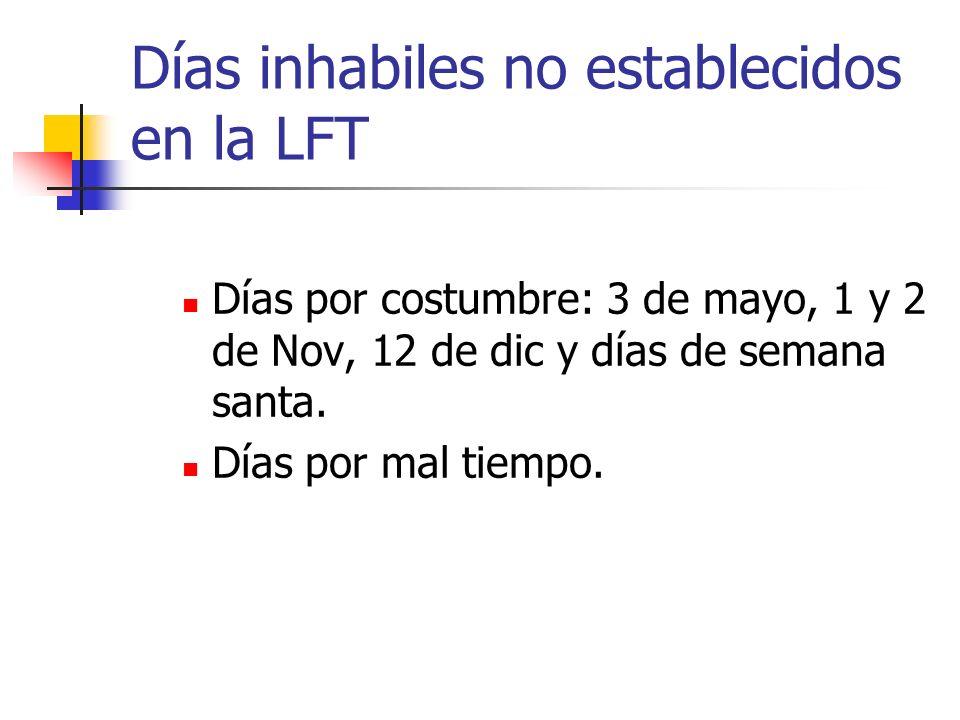 Días inhabiles no establecidos en la LFT