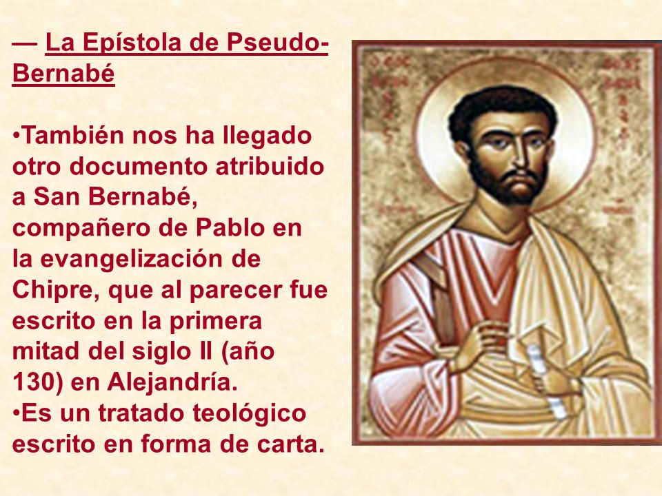 — La Epístola de Pseudo-Bernabé