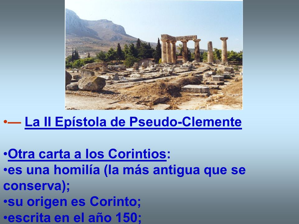 — La II Epístola de Pseudo-Clemente