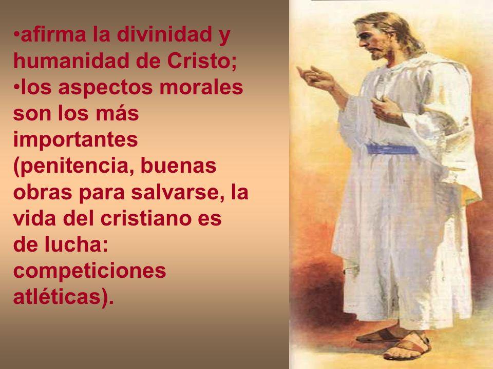 afirma la divinidad y humanidad de Cristo;