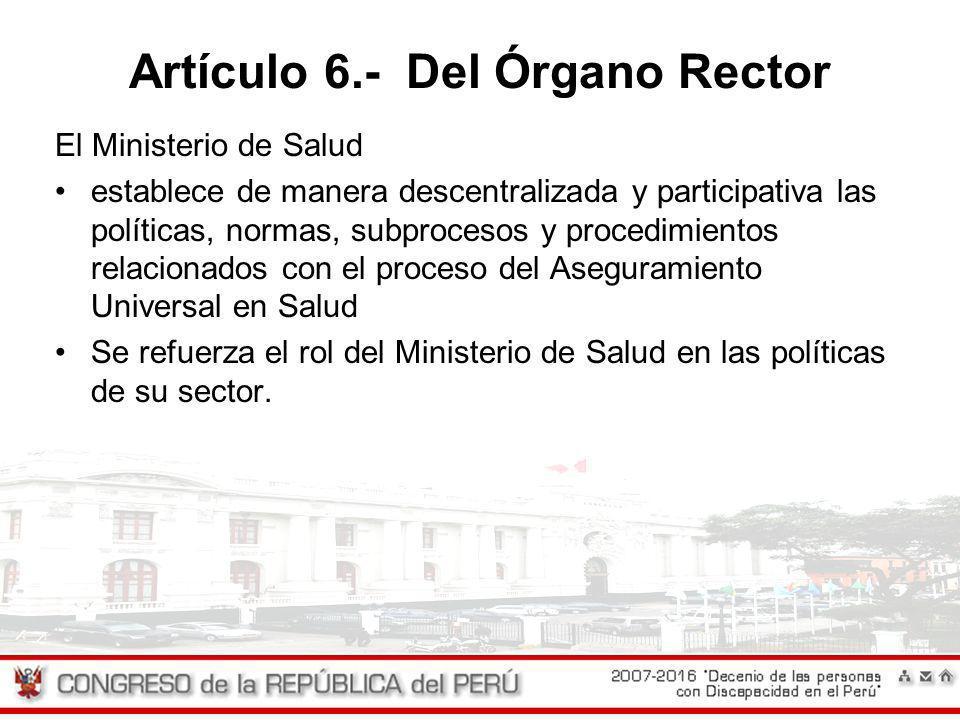 Artículo 6.- Del Órgano Rector