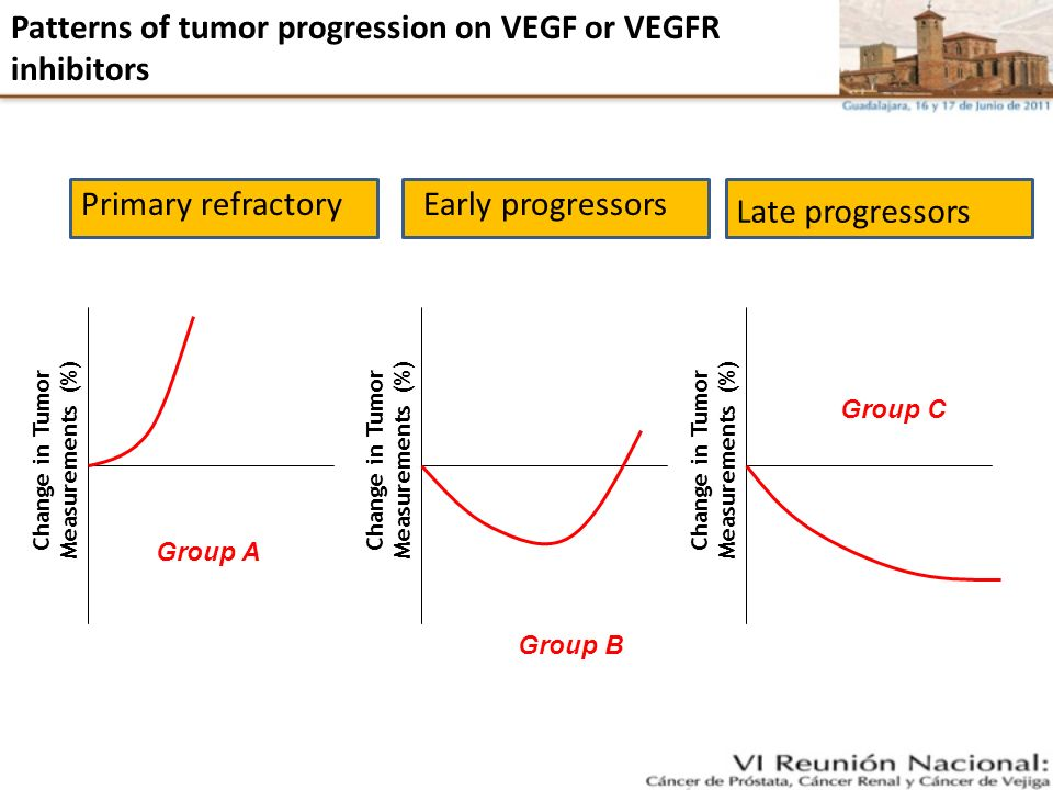 Patterns of tumor progression on VEGF or VEGFR inhibitors