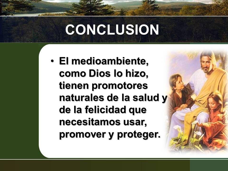 CONCLUSION El medioambiente, como Dios lo hizo, tienen promotores naturales de la salud y de la felicidad que necesitamos usar, promover y proteger.