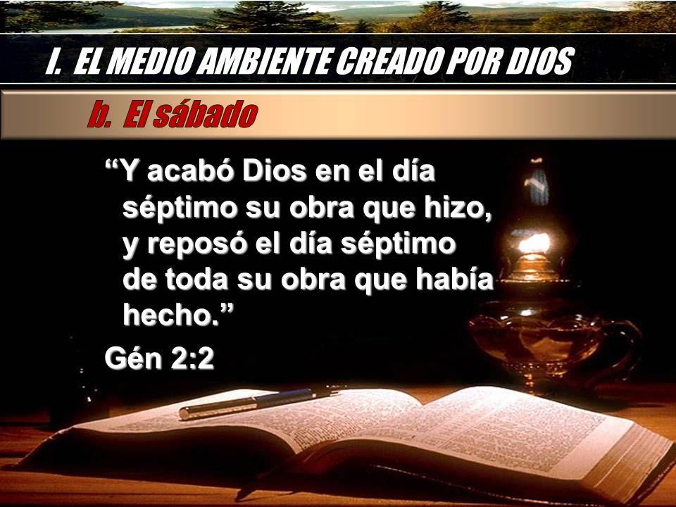 I. EL MEDIO AMBIENTE CREADO POR DIOS