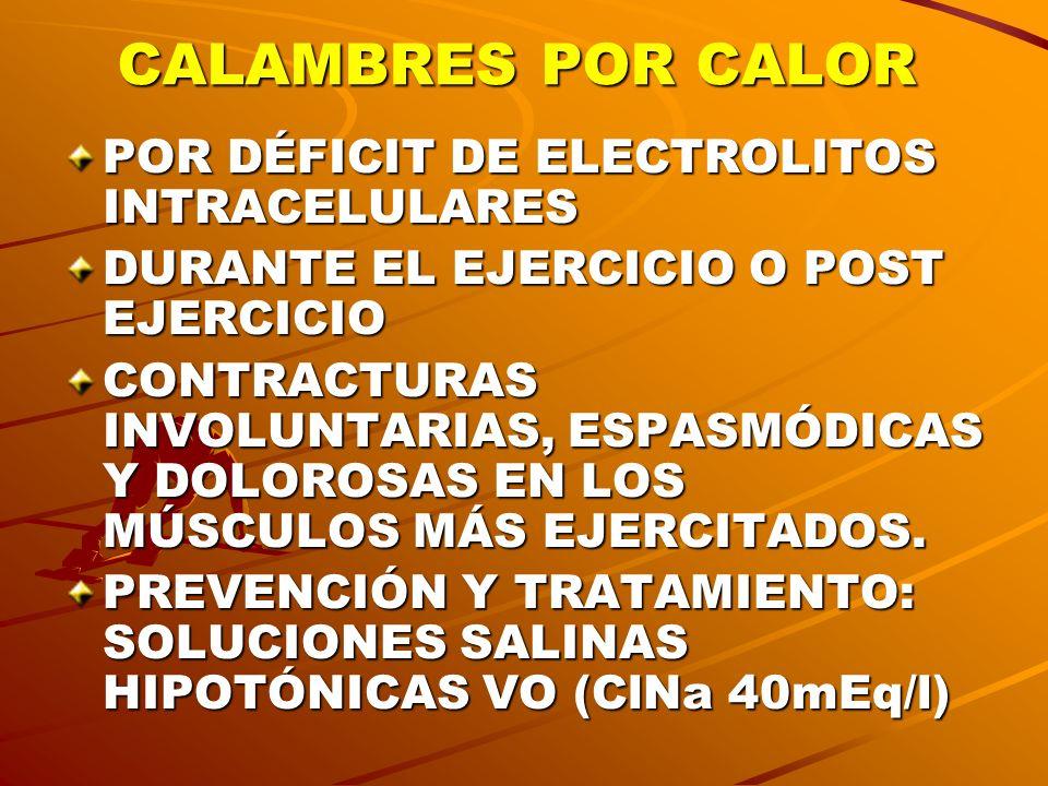 CALAMBRES POR CALOR POR DÉFICIT DE ELECTROLITOS INTRACELULARES