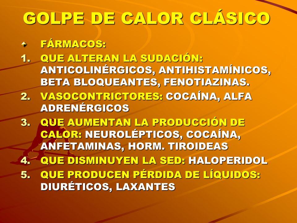 GOLPE DE CALOR CLÁSICO FÁRMACOS: