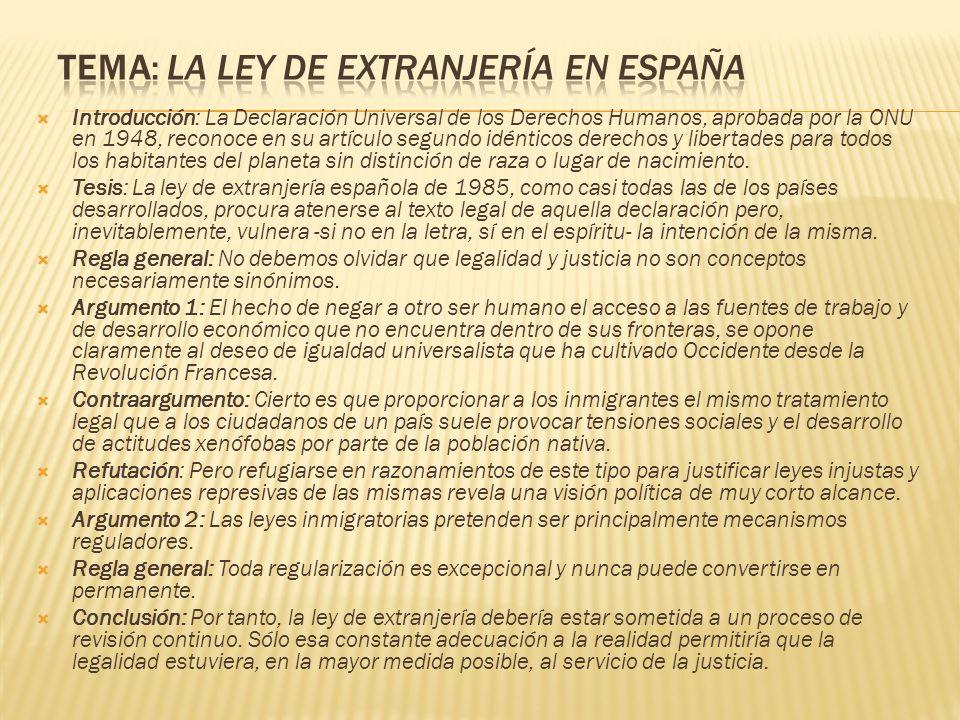Tema: La ley de extranjería en España
