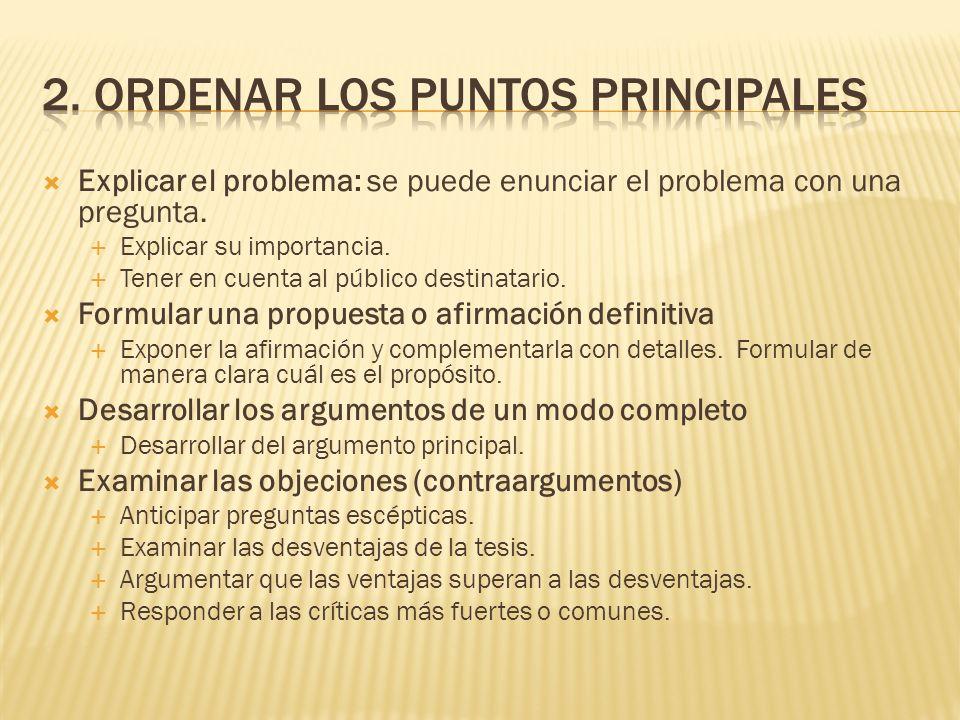 2. Ordenar los puntos principales