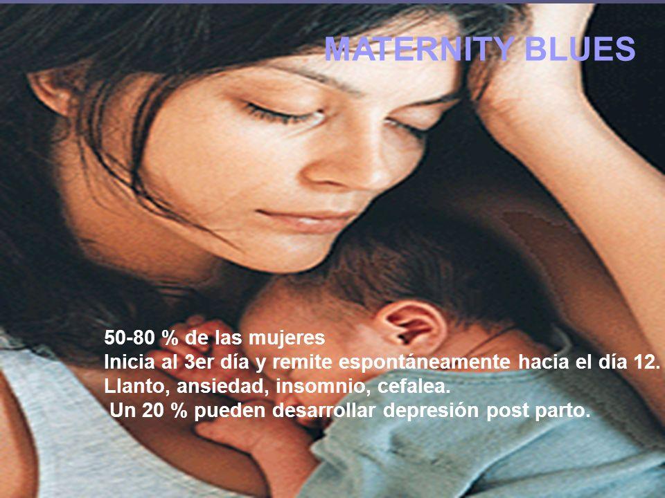MATERNITY BLUES 50-80 % de las mujeres