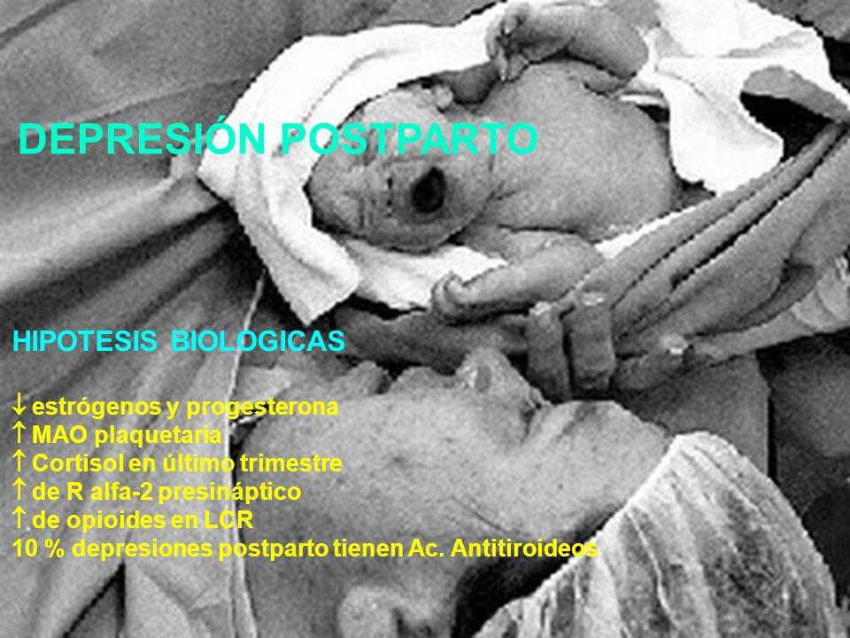 DEPRESIÓN POSTPARTO HIPOTESIS BIOLOGICAS  estrógenos y progesterona