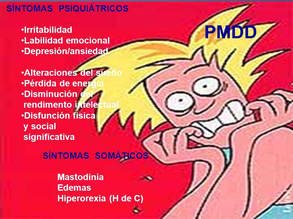 PMDD SÍNTOMAS PSIQUIÁTRICOS Irritabilidad Labilidad emocional