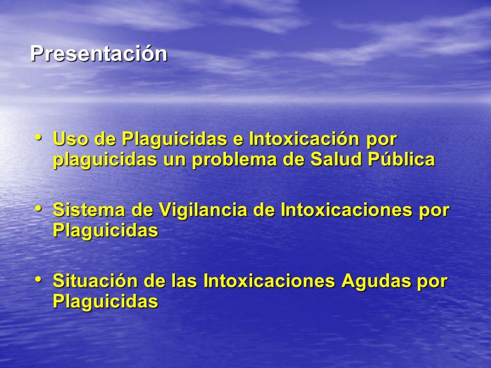 Presentación Uso de Plaguicidas e Intoxicación por plaguicidas un problema de Salud Pública. Sistema de Vigilancia de Intoxicaciones por Plaguicidas.