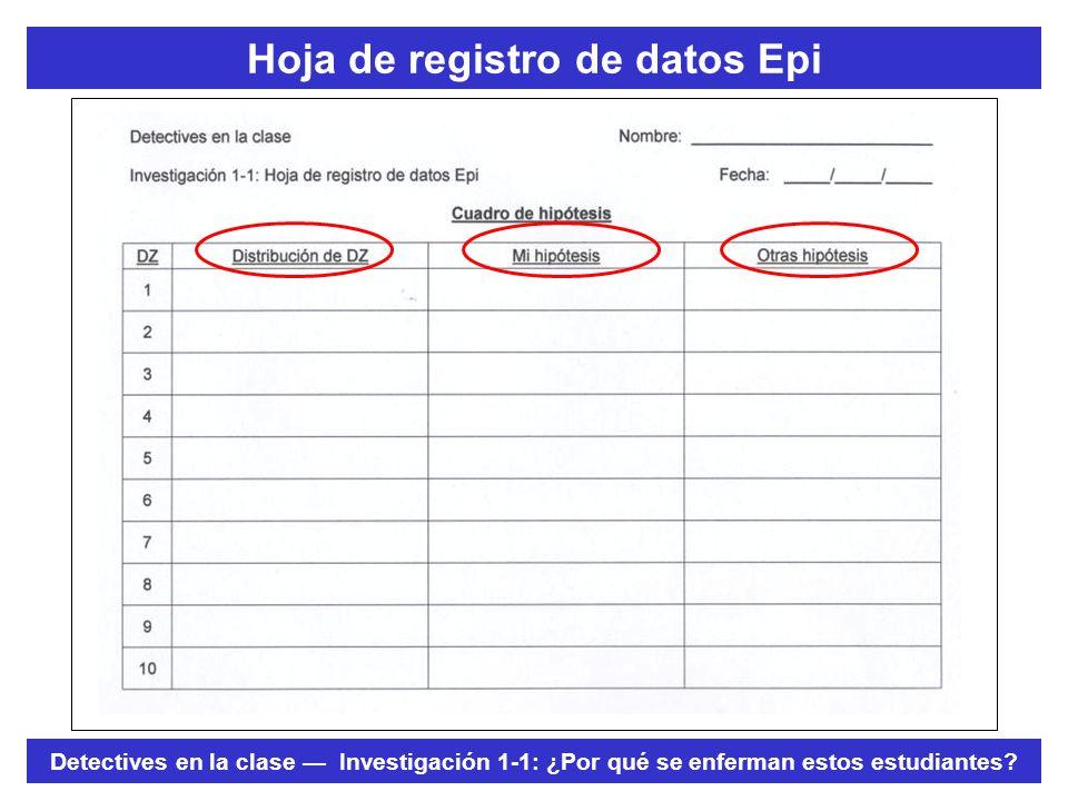 Hoja de registro de datos Epi